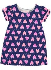 TODDLER GIRLS HEART PRINT KNIT DRESS