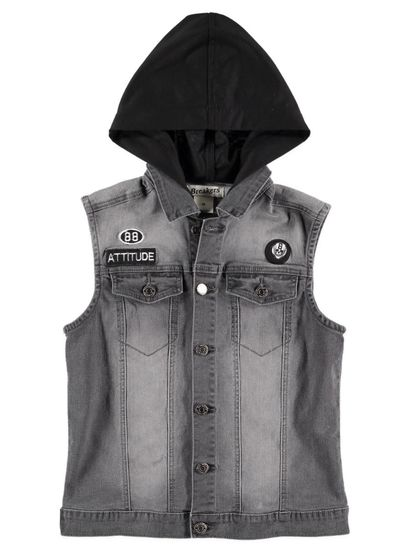 Boys Sleeveless Denim Hooded Jacket