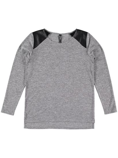 Womens Pu Shoulder Pullover Plus