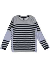 Stripe Roll Sleeve Pullover Womens