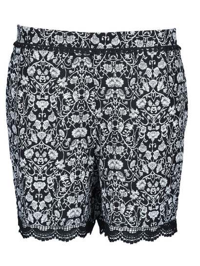 Womens Crochet Trim Print Short