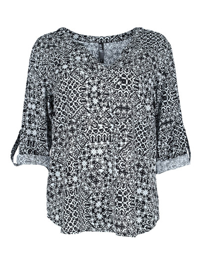 Roll Sleeve Print Shirt Womens