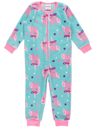 Girls Coral Fleece Unicorn Onesie
