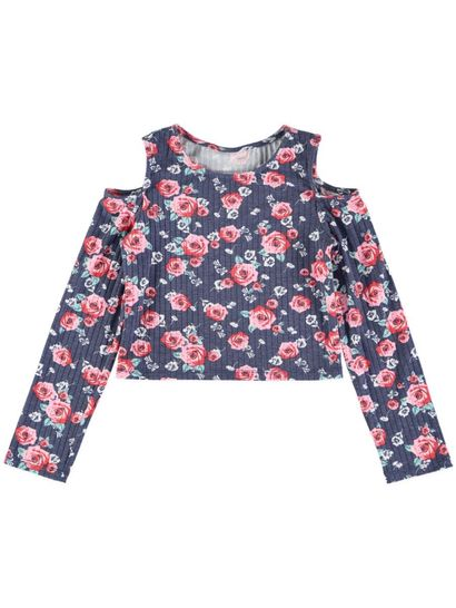 Girls Knit Long Sleeve Print Top
