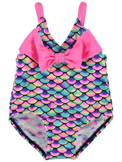 Toddler Girls Multi Colour Mermaid Swim Suit