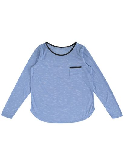 Pu Trim Long Sleeve Top Womens