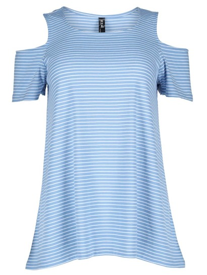 Plus Yarn-Dyed Stripe Cold Shoulder Tee Womens