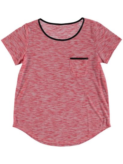 Plus Space Dye Tee With Pu Trim Womens