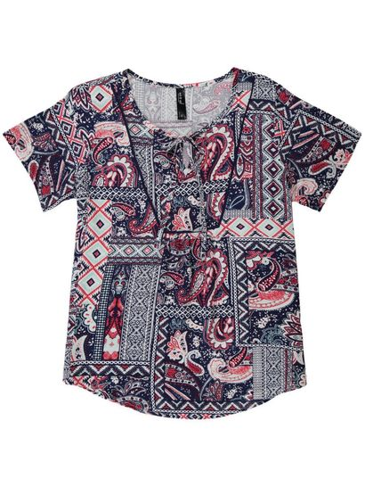 Bib Patchwork Top Womens