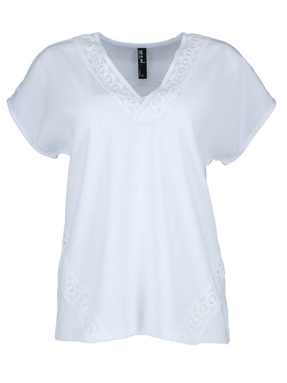 Woven Front Lace Trim Tee Womens