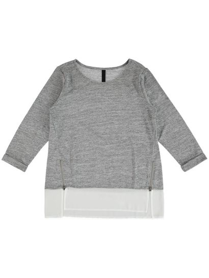 Woven Hem Zip Top Womens