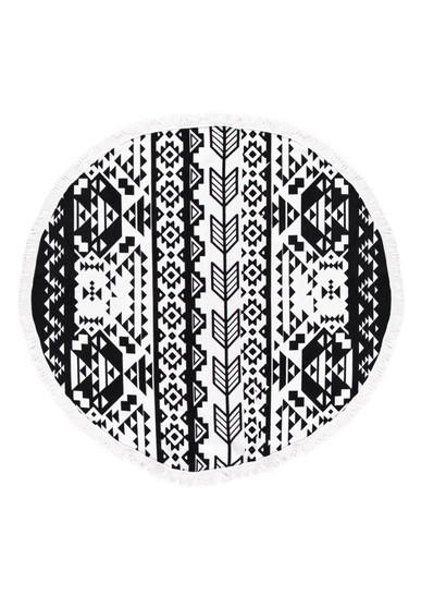 PRINTED ROUND BEACH TOWEL-MONOCHROME AZTEC