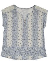 Plus Lace Shoulder Print Tee Womens