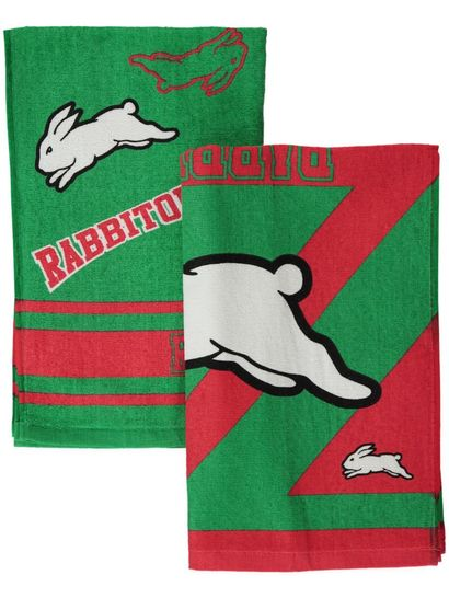 2Pk Rabbitohs Velour Tea Towel