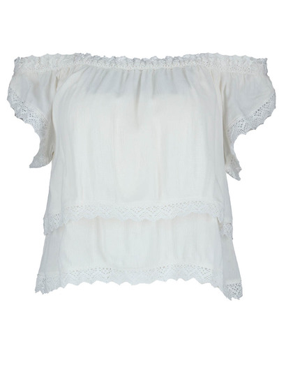 Miss Mango  Double Layer Lace Trim Top