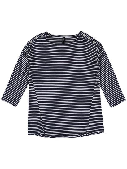 Button Shoulder Stripe Pullover Womens