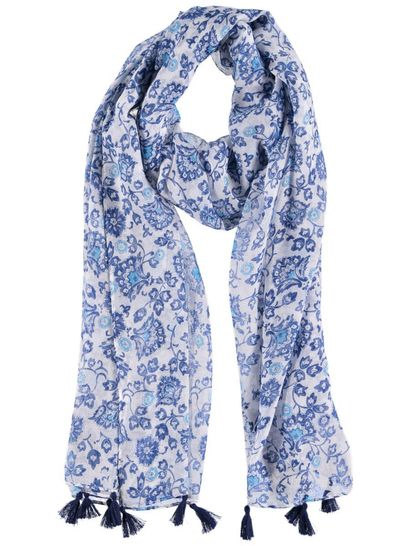 Womens Flower Tassel Scarf