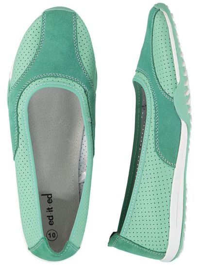 Womens Green Leather Comfort Shoe