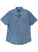 MENS SHORT SLEEVE PRINTED DENIM SHIRT