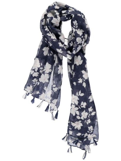 Women Flower Tassel Scarf