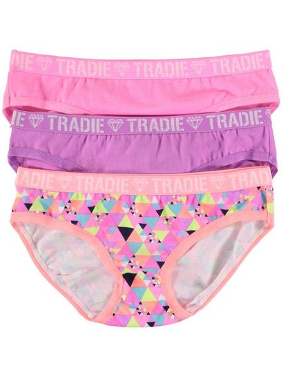 Girls 3Pk Tradie Briefs