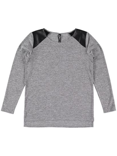 Womens Pu Shoulder Pullover
