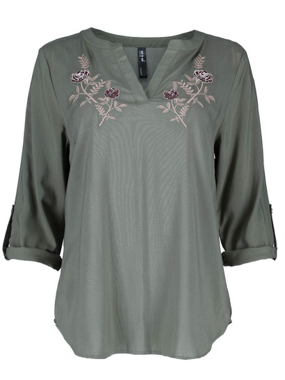 Plus Embroidered Roll Sleeve Shirt Womens