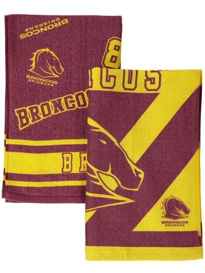 2Pk Broncos Velour Tea Towel