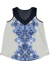 Plus Woven Front Lace Trim Tank Womens