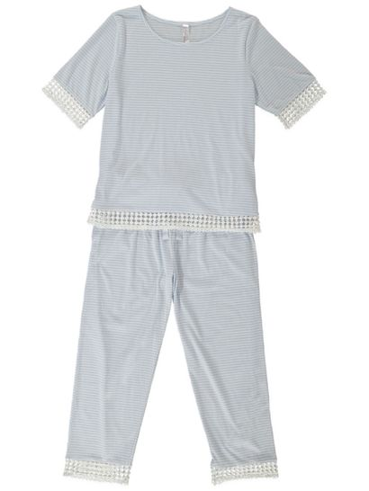 LADIES JERSEY PJ WITH CROCHET TRIM