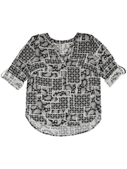 Print Roll Sleeve Shirt Womens