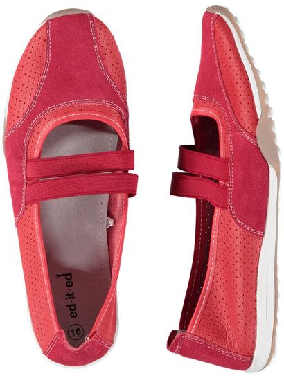 Womens Red Leather Comfort Shoe