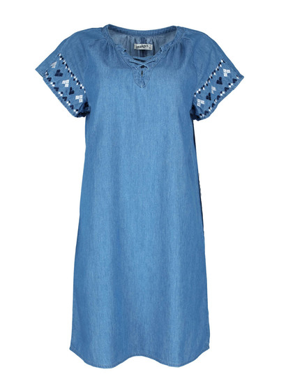 Womens Chambray Embroidered Dress