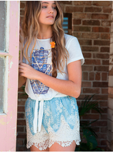 MM EMBROIDERED CHAMBRAY SHORT