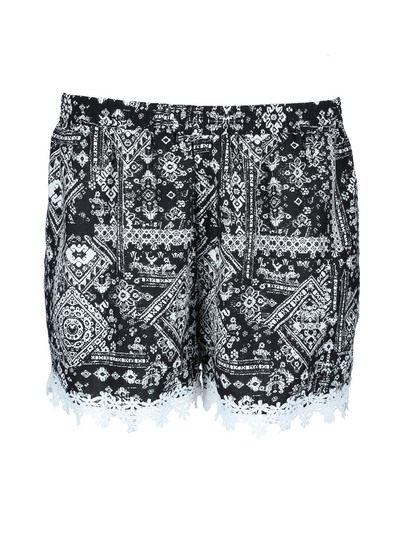 Plus Womens Lace Trim Short