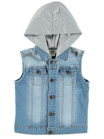 Boys Hooded Denim Vest