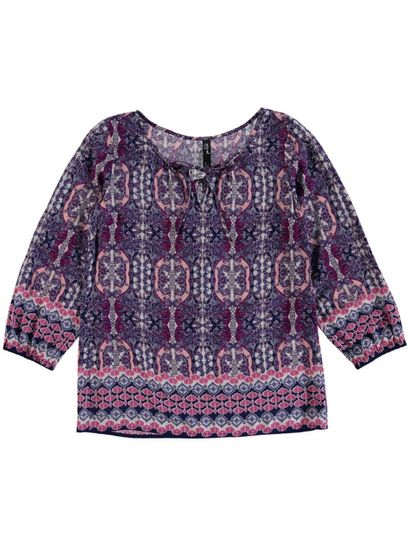 Border Print Laced Gypsy Top Womens