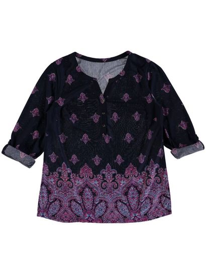Plus Allover Print Henley Top Womens