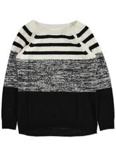 PLUS BLOCK STRIPE PULLOVER WOMENS