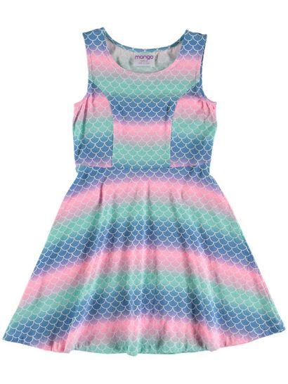 Girls Mermaid Print Skater Dress
