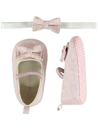 Baby Girl Soft Sole Bow Glitter Set
