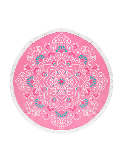 PRINTED ROUND BEACH TOWEL-MEDALLION FLORAL