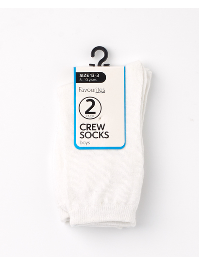 BOYS 2PK PLAIN CREW SOCKS