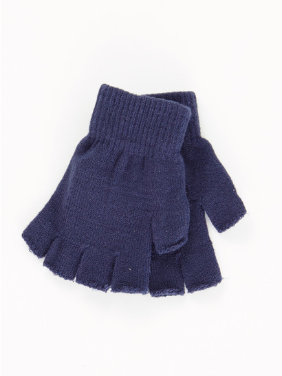 NAVY BLUE KIDS FINGERLESS GLOVES