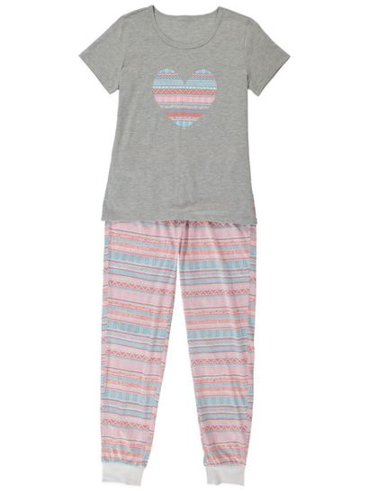 Knit Womens Tee And Jogger Pj Set
