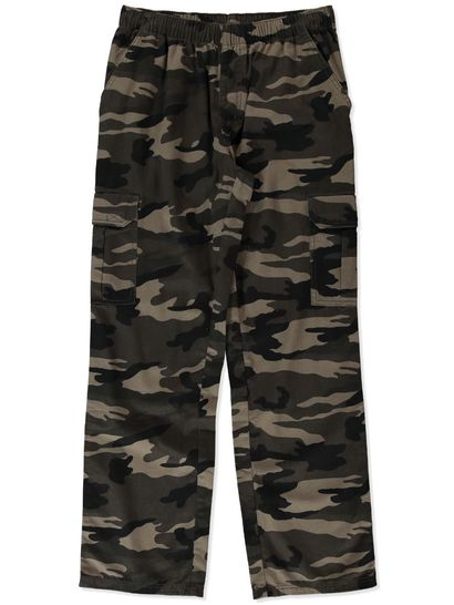 MENS ELASTICATED WAIST CAMO CARGO PANTS