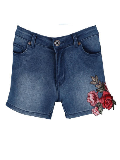 Womes Mid Wash Applique Denim Short