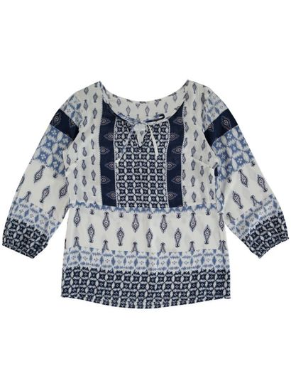 Plus Border Print Gypsy Top Womens