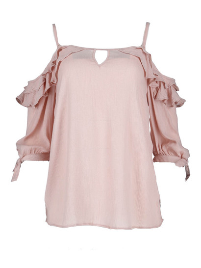 Ruffle Cold Shoulder Gypsy Womens