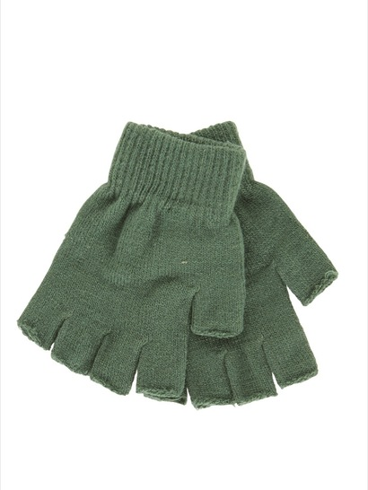 BOTTLE GREEN KIDS FINGERLESS GLOVES